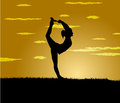 Girl makes yoga exercise at the gloaming vector Royalty Free Stock Photos
