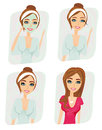 Girl makeup and care about complexion set illustration Royalty Free Stock Image