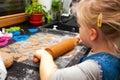 Girl Making Gingerbread Cookie...