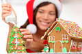Girl making gingerbread house Stock Image