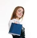Girl making presentation Royalty Free Stock Photo