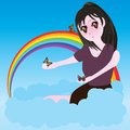 Girl manga sit cloud buttefly illustration abstract sky view rainbow butterflies blue color colorful template graphic cute design Stock Image
