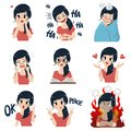 The girl in many gestures