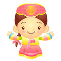 Girl mascot the direction of pointing with both hands korea tra traditional cultural character design series Stock Images