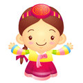 Girl mascot the direction of pointing with both hands korea tra traditional cultural character design series Royalty Free Stock Image
