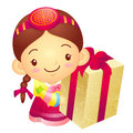 Girl mascot the hand is holding a big box korea traditional cul cultural character design series Stock Image