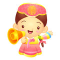 Girl mascot the hand is holding a loudspeaker korea traditional cultural character design series Royalty Free Stock Image