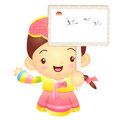 The girl mascot holding a big board korea traditional cultural character design series Royalty Free Stock Photo