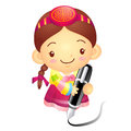 The girl mascot with a large pen is writing korea traditional cultural character design series Stock Images