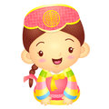 Girl mascot is a polite greeting korea traditional cultural cha character design series Royalty Free Stock Photos