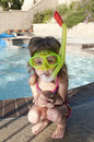 Girl with mask and snorkel Royalty Free Stock Image