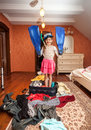 Girl in mask snorkel and flippers standing in suitcase photo of smiling Stock Image