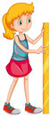 Girl measuring height with a ruler illustration Stock Photo