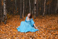 Girl in medieval dress in autumn wood Stock Image
