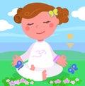 Girl in meditation pose vector