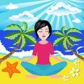 Girl meditates in the yoga lotus position in seaside