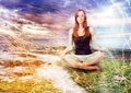 Girl meditating at the calm place in the nature Royalty Free Stock Photos
