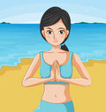 A girl meditating illustration of Royalty Free Stock Images