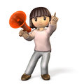 Girl with a megaphone in one hand.