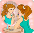 The girl in the mirror a making herself up vector illustration Royalty Free Stock Photos