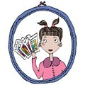 Girl in the Mirror Thinking About Season Type of Female Colors. Vector Illustration.