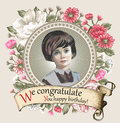 Girl, miss. Portrait. Woman. Invitation frame flowers. Vintage Card  Flowers. Peonies chamomile vector Illustration Royalty Free Stock Photo