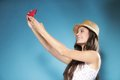 Girl with mobile phone taking photo of herself happy smiling summer smartphone Stock Image