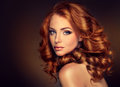 Girl model with long curly red hair. Royalty Free Stock Photo