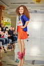 Girl model performs at podium moscow mar of children gallery yakimanka during th yakimanka kids fashion week march moscow russia Royalty Free Stock Image