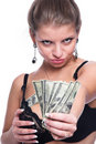 The girl and money. Stock Photography