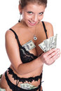 The girl and money. Royalty Free Stock Photography