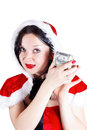 Girl with money in Santa suit Royalty Free Stock Image