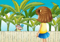 A girl and a monkey near the wooden fence illustration of Royalty Free Stock Photo