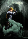 Girl and monster in armor is fighting against a in a cave Stock Photography