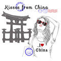 Girl with monument background and post stamps - china Royalty Free Stock Photo