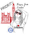Girl with monument background and post stamps - London - Royalty Free Stock Photo