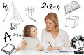 Girl and mother doing homework with tablet pc education technology internet parenting concept Stock Photos