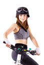 Girl with a mountain bike and helmet Royalty Free Stock Photo