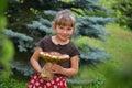 Girl with mushroom Royalty Free Stock Photo