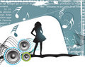 Girl, music background Royalty Free Stock Photography