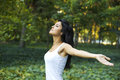 Girl in nature brunette meditating green Royalty Free Stock Photos