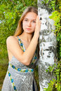 Girl near birch Royalty Free Stock Images