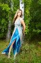 Girl near birch Stock Photography