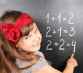 Girl Near Blackboard Learning Mathematics Stock Photography