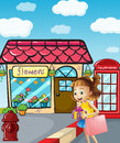 A girl near the flowershop holding a bag and a gift illustration of Royalty Free Stock Photography