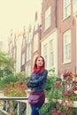 Girl Near Houses In Amsterdam.