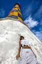 Girl near lighthouse Royalty Free Stock Photo