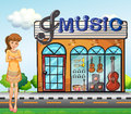 A girl near the music shop