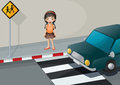 A girl near the pedestrian lane with a car illustration of Royalty Free Stock Photo