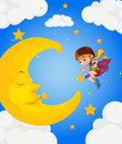 A girl near the sleeping moon illustration of Stock Photo